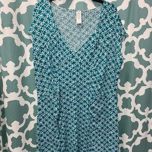Teal and white dress 1X